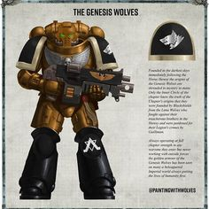 So I treated myself and bought a custom Chapter ID card from the amazing for my Genesis Wolves and I have to say I am… Warhammer 40k Memes, Warhammer Paint, Warhammer 40000, Space Soldier, Combat Armor, Marine Colors, The Horus Heresy, Imperial Fist, Anime Military