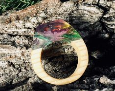 Wood Floral Resin Ring