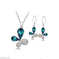 BD Fashion Jewelry Austrian Crystal Butterfly Earrings Pdndant Necklace Suit