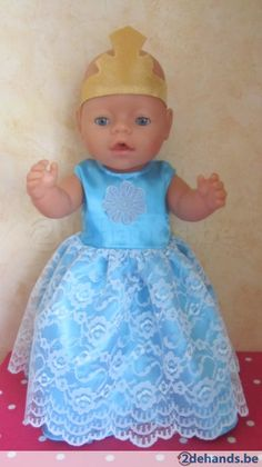 Baby born licht blauw  prinsessen jurkje - Te koop