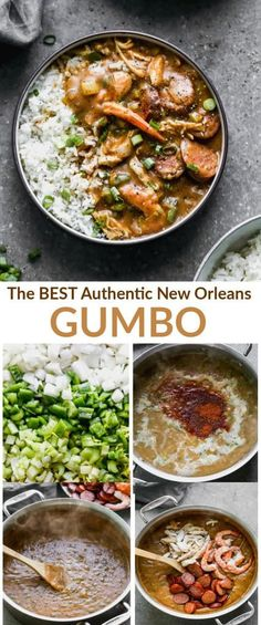 Everyone's Favorite Cranberry Salad Authentic New Orleans Style Gumbo with vegetables, chicken, sausage, and shrimp! Served warm over rice. Creole Recipes, Cajun Recipes, Seafood Recipes, New Recipes, Soup Recipes, Dinner Recipes, Cooking Recipes, Healthy Recipes, Creole Gumbo Recipe