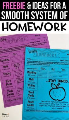 Prepare for back to school with this weekly homework freebie that works perfectly for my third graders #homework #thirdgrade #classroommanagement