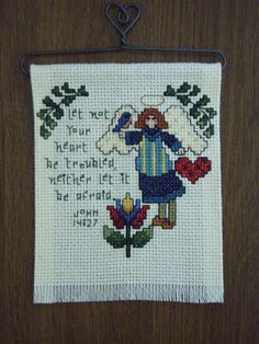 Needlecraft Cross Stitched  ANGEL BANNER by wilkie36 on Etsy, $10.00