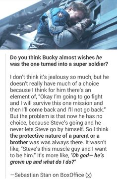 Bucky only wanted the best for Steve. But when the best comes along, there also comes the consequence and his ingrained desire to shield Steve from them.