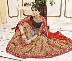 Red & Brown Crepe Chiffon Designer Sarees ,Indian Dresses - 2