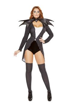 Roma Costume - 4pc Pumpkin Queen Jackie Women's Costume Includes Coat with Tuxedo Tail, Strapless Romper, Bat Neckpiece with Rhinestone Detail, & Leggings Fabric: Poly/Spandex Made In USA