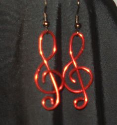 Treble Clef red wire wrapped FREE SHIPPING by MermaidMiss on Etsy, $15.00