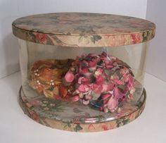 Vintage Hat Box Floral Fabric Clear Plastic By ATouchOfDust