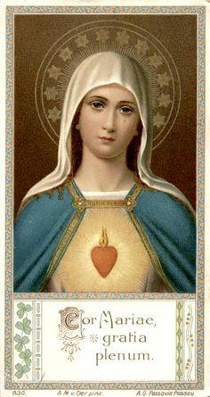 "Cor Mariae, gratia plena A German holy card of the Heart of Mary, ""full of grace"". Ora pro nobis"
