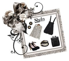 """SheIn Strap Button Black Dress, http://www shein.com/Strap-Buttob-Flare-Black-Dress-p-235546-cat-1727.html?, utm_sourc=polyvore&utm_from=SKU:RDRE150909154"" by freida-adams ❤ liked on Polyvore"