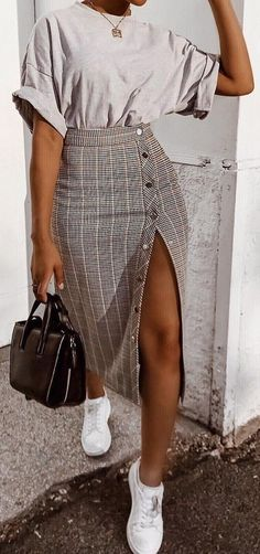 43 stylish outfits for copying - women's fashion trends - 43 stylish outfits for . - 43 stylish outfits to copy – women's fashion trends – 43 stylish outfits to copy now outfi - Mode Outfits, Skirt Outfits, Sneakers Fashion Outfits, Outfit With Skirt, Scene Outfits, Plaid Outfits, Cute Casual Outfits, Stylish Outfits, Casual Shoes
