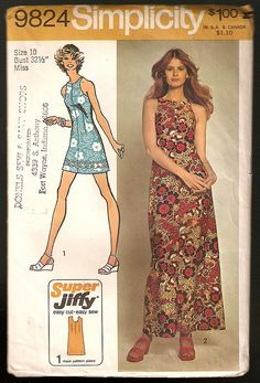 Simplicity Simple-To-Sew Misses' Super Jiffy Dress in Two Lengths, Size Bust TC - New Vintage Studio 70s Fashion, Vintage Fashion, Fashion Outfits, Vintage Style, Vintage Sewing Patterns, Clothing Patterns, Clothing Ideas, Sewing Ideas, 1970s Style Clothing