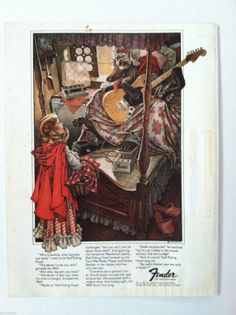 1976 Fender Guitar Red Riding Hood Wolf Accessory Vintage Cool Original Ad | eBay