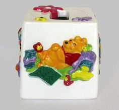 NEW Disney Winnie the Pooh Ceramic Tissue Box Cover 3D Raised Relief Hand Paint