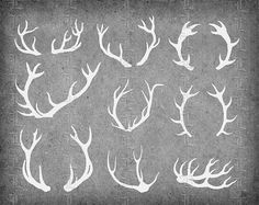 Deer Antler White Silhouettes Printable Graphic