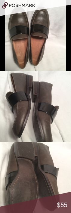 Madewell loafers Preloved has some fine scratches nice color scheme of olive green leather and black patent leather band across the front,very nice Madewell Shoes Flats & Loafers