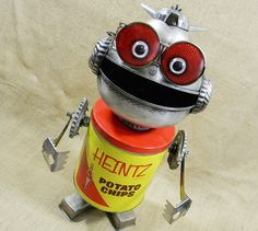 robot assemblage - CHIP The RoboBoy - found object sculpture -