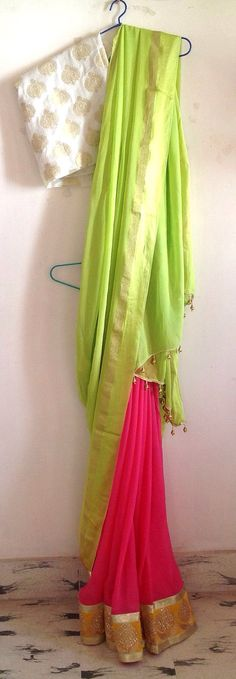 Pink and green chiffon saree with unstitched brocade blouse Brocade Saree, Brocade Blouses, Chiffon Saree, Brocade Fabric, Salwar Neck Designs, Blouse Designs, Lehenga Color Combinations, Most Beautiful Dresses, Beautiful Saree