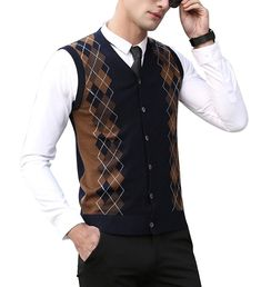 e5b785ed0ff45 Mens Casual Loose Knitted Vest Winter Sleeveless Sweater Stand ...