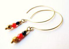 Hoop Earrings, Open Hoops, Brass, Beaded Drop, Beadwork, Modern Jewelry, Summer Colors, Navy and Red, Bead Dangle
