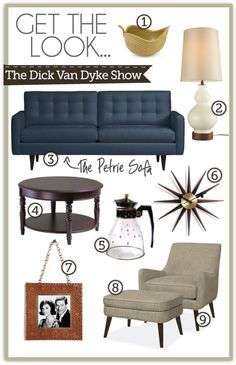 Get The Look: Dick Van Dyke Show living room. My living room will SO be modeled after this someday! And that couch is actually named after The Petrie's! So awesome. Retro Living Rooms, Mid Century Modern Living Room, Mid Century Modern Decor, Mid Century House, My Living Room, Mid Century Design, Home And Living, Tv Decor, Home Decor