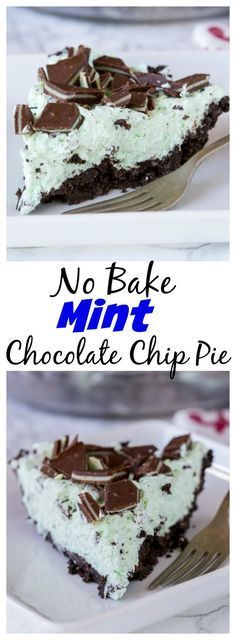 No Bake Mint Chocolate Chip Pie – a creamy mint pie with chocolate chips, topped with Andes mints, all in an Oreo crust! Such an easy no bake recipe for those hot days.