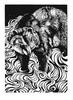 River Bear Black Linoleum Block Print