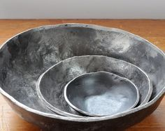 Nesting Bowls by R+R Handmade. Hand forged out of recycled steel. Contemporary. Urban. Greet wedding gift. $150.00