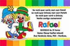 convite patati patata gratis - Pesquisa Google Circus Theme, Fictional Characters, Gugu, Bernardo, Gabriel, Alice, First Year, Clowns, Invitations
