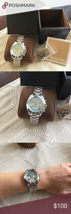 Michael Kors watch Sliver Michael Kors watch with a light blue face. I really haven't worn it very much so there is minimal wear. Please let me know if you have any questions and make me an offer! All my prices are negotiable ☺ MICHAEL Michael Kors Accessories Watches