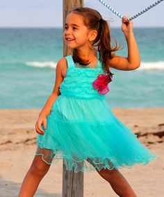 Take a look at the Turquoise Tutu Sun Dress & Rosette Pin - Toddler & Girls on #zulily today!