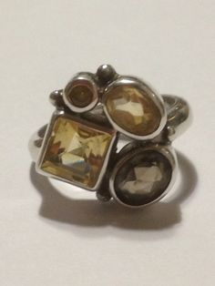 Citrine Topaz Sterling Ring Sz 7 Silver Smoky Smokey Yellow 925 Vintage Jewelry Cocktail Mother Birthday Anniversary Holiday Christmas Gift on Etsy, $45.00