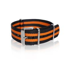 Details Nato Strap Black Orange Strips with stainless steel buckle. High quality, durable, water resistant Width: 3 size available mm / 20 mm / 22 mm) Length: 270 mm 1 mm thickness Shipping & Hand Nato Strap, Black Stripes, 18th, Stainless Steel, Belt, Orange, Stuff To Buy, Accessories, Collection