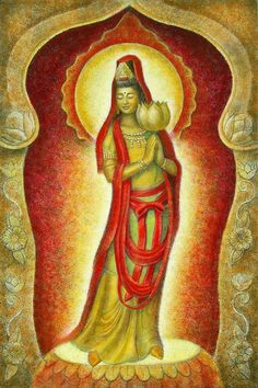 KUAN YIN's LOTUS female Buddha  meditation art by Sue Halstenberg