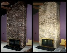 Brick staining changed the look of this fireplace in less time and with less dust than resurfacing. (Photo courtesy of Harry Brax)