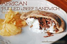 African Pulled Beef Sandwiches in the Slow Cooker with Yogurt-Mint Sauce - Eat at Home