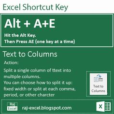 Raj Excel: Excel 2013 /16 Short Cut Keys: Alt + AE (Text to c...