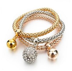 Lampeggiare - 3 Crystal Love Rose Gold & Gold & Silver Bracelets