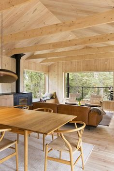 Vindö by Max Holst :: Integration of the wood stove with the cabinetry and windowseat is interesting - it must need some serious thermal barrier to prevent fire or damage to the surrounding materials from heat? Cabin Interiors, Wood Interiors, Weekend House, Forest House, Cabin Homes, House Music, House In The Woods, Little Houses, Home And Living