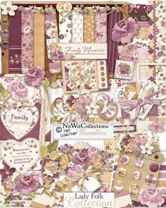 #digitalscrapbooking #cardmaking  A digital scrapbooking vintage kit and card making vintage kit for the ladies in your life.  Embroidery elements, stitched, and rich florals give you lots of ideas to create cards and layouts for your Mom, grandmother, or even favorite aunt.  This would also be great for a memorial kit. FQB - Lady Folk Collection from Nitwit Collections™