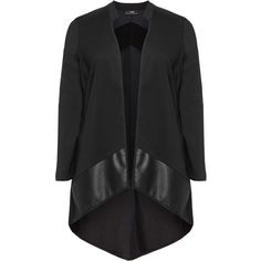 NÖR Black Plus Size Mixed material patchwork jacket ($150) ❤ liked on Polyvore featuring outerwear, jackets, black, plus size, open front jacket, stand collar jacket, plus size black jacket, black jacket and womens plus size jackets