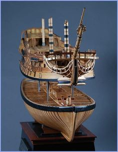 ル・フルーロン  Le Fleuron 1:48 By Katsushi Tsuchiya / Saved by Stephen Lok    ~ START ~ Model Ship Building, Boat Building, Model Warships, Model Sailing Ships, Wooden Model Boats, Ship In Bottle, Make A Boat, Wooden Ship, Tall Ships