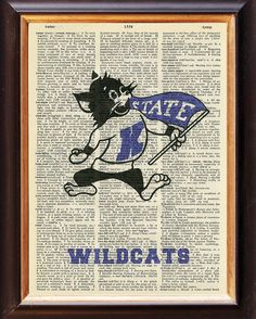 Kansas State - Wildcats - Dictionary Art Print  - Kansas State University - Upcycled Vintage Art - 8 x 11 on Etsy, $8.95