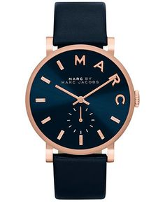 Marc by Marc Jacobs Women's Baker Navy Leather Strap Watch 36mm MBM1329 - Women's Watches - Jewelry & Watches - Macy's