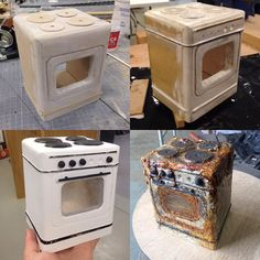 1:12 scale oven, process pictures for @johnnapierstages artwork CATS junkyard. The crusty grime was achieved by pooling PVA and burning it with a heat gun. #johnnapier #johnnapierstages #cats #catsthemusical #setmodel #setdesign #theatre #theatremodel #theatredesign #modelmaker #modelmakers #modelmaking #miniature #props #process #propmaker #scalemodel #oven #junkyard #townergallery