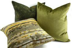 Green Velvet Pillow Cover Throw Pillow Cover by ThePillowSpot