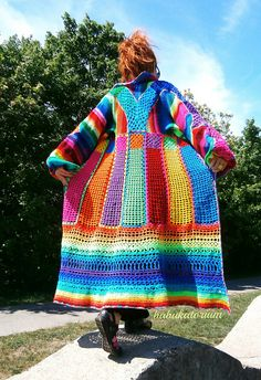 Knitted Crocheted Granny Patchwork Multicolor Multimotif Striped Hippie Crochet Coat | by babukatorium