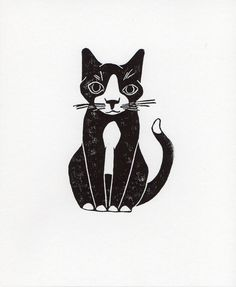 Black and white Sitting Tuxedo Cat linocut woodblock printmaking art print 8 x 10