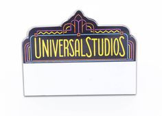 Custom shaped name tag, die-cut, screen printed. One of the very first Universal Studios name badges proudly made exclusively by Identity Systems, Inc. in Columbus, Ohio.  #WeLoveUniversalStudios #WeLoveAmusementParks #AmusementParkBadge #CustomShapedNameTag #CustomShapedNameBadge #IdenititySystems #MadeInTheUSA