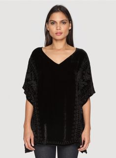 Mila Velvet Poncho The JWLA MILA VELVET PONCHO features tonal embroidery on plush velvet and a relaxed poncho cut. Pair this chic velvet top with black pants, heeled boots, and statement earrings to host your next holiday party!  - Velvet - V-Neckline, Short Poncho Sleeves - Signature Embroidery - Care Instructions: Dry Clean Only